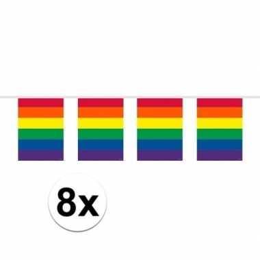 8x gay pride regenboog vlaggenlijnen 10 meter