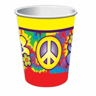 8x hippie themafeest bekers 266 ml