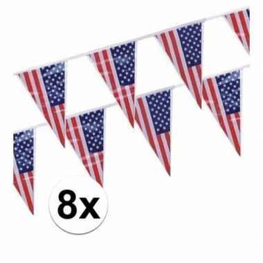 8x plastic vlaggenlijn/slingers amerika/usa