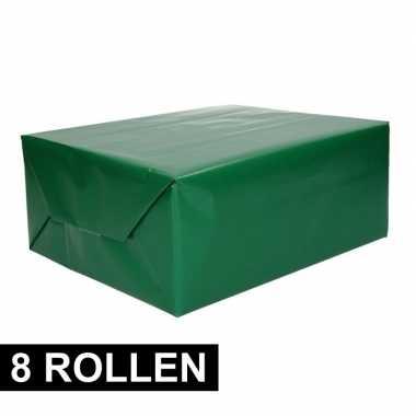 8x rollen cadeaupapier groen 70 x 200 cm
