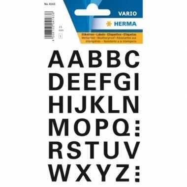 A t/m z letter stickers zwart 15 mm