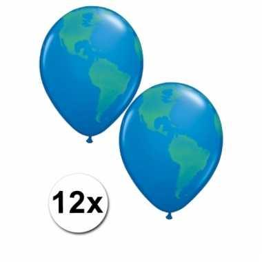 Aarde versiering ballonnen 12 stuks 40 cm