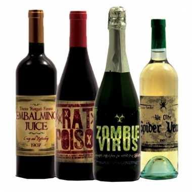 Acht flessen horror etiketten