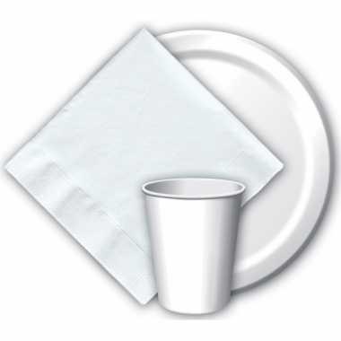 Acht wegwerp bordjes wit