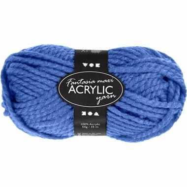 Acryl haak garen blauw 50 gram