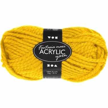 Acryl haak garen geel 50 gram
