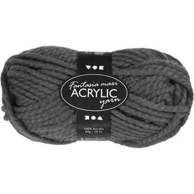Acryl haak garen grijs 50 gram