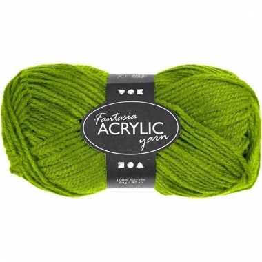 Acryl haak garen groen 80 meter