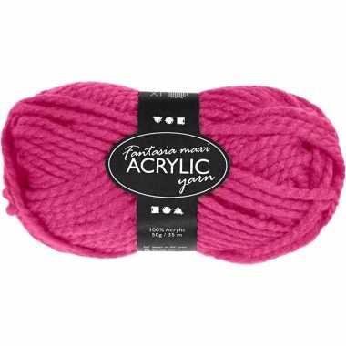Acryl haak garen neon roze 50 gram