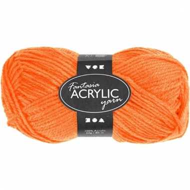 Acryl haak garen oranje 80 meter