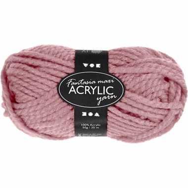 Acryl haak garen oud roze 50 gram
