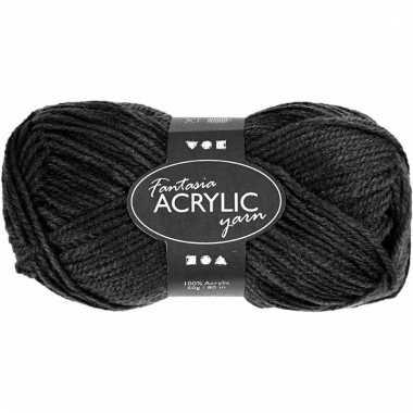 Acryl haak garen zwart 80 meter