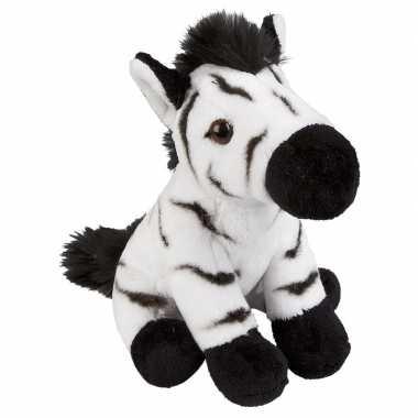 Afrikaanse dieren knuffels zebra zwart/wit 19 cm