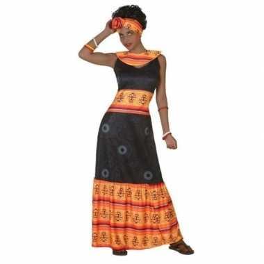 Afrikaanse jurk verkleed kostuum zwart/oranje voor dames