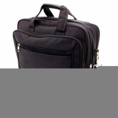 Akte schoudertas/laptoptas 15,6 inch zwart 20 liter