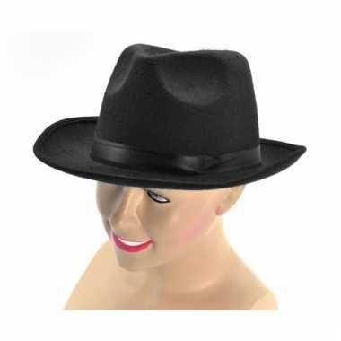 Al capone hoed zwart met band