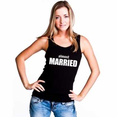 Almost married singlet zwart dames