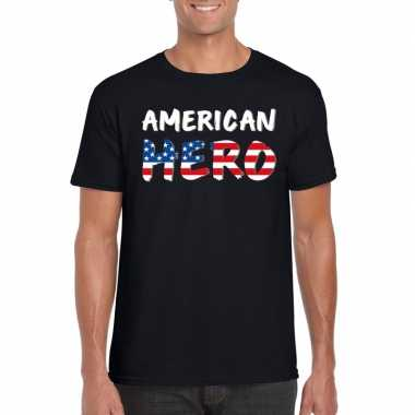 American hero tekst t-shirt zwart heren