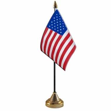 Amerika/usa tafelvlaggetje 10 x 15 cm met standaard