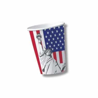 Amerikaanse thema bekertjes van karton 10 st