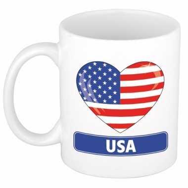 Amerikaanse vlag hartje koffiemok 300 ml