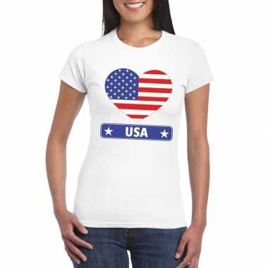 Amerikaanse vlag in hartje shirt wit dames
