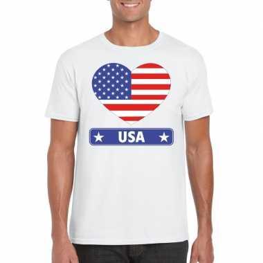 Amerikaanse vlag in hartje shirt wit heren