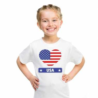 Amerikaanse vlag in hartje shirt wit kind