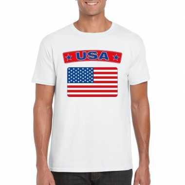 Amerikaanse vlag shirt wit heren