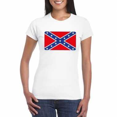 Amerikaanse zuidelijke staten vlag shirt wit dames