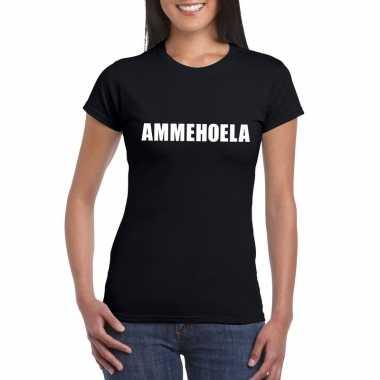 Ammehoela tekst t-shirt zwart dames