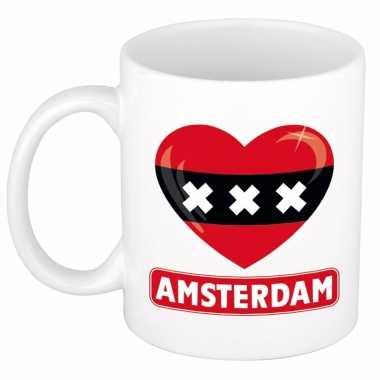 Amsterdamse vlag hartje koffiemok 300 ml
