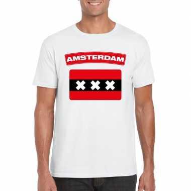 Amsterdamse vlag shirt wit heren