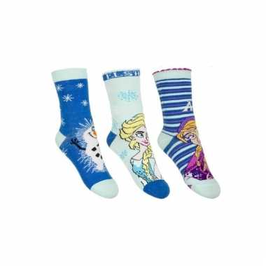 Anna elsa en olaf sokken blauw 3 stuks voor kids