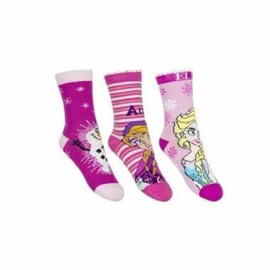 Anna elsa en olaf sokken roze 3 stuks voor kids