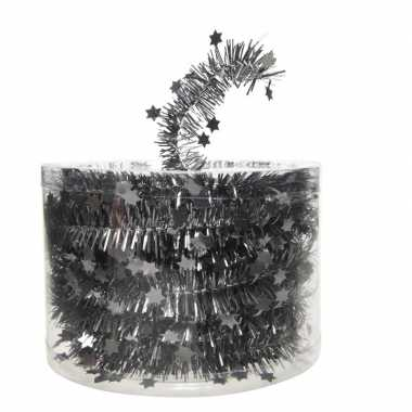 Antraciet kerstversiering folie slinger met ster 700 cm
