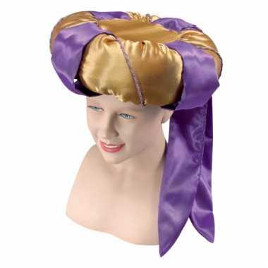 Arabische tulband goud en paars