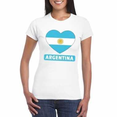 Argentijnse vlag in hartje shirt wit dames