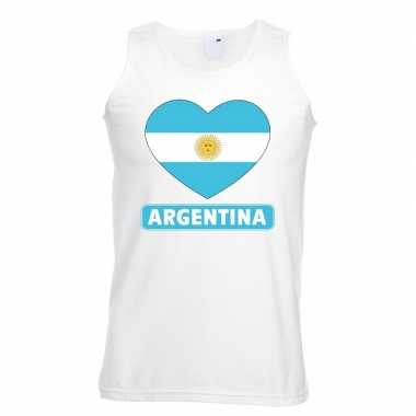 Argentijnse vlag in hartje singlet wit heren