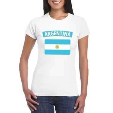 Argentijnse vlag shirt wit dames
