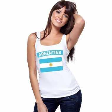 Argentijnse vlag singlet wit dames