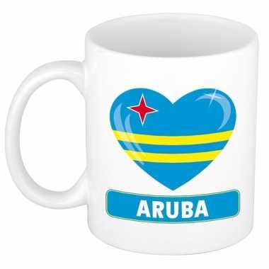 Arubaanse vlag hartje koffiemok 300 ml