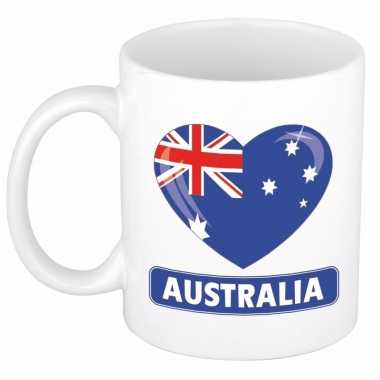 Australische vlag hartje koffiemok 300 ml