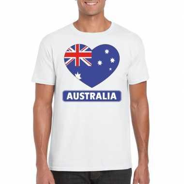 Australische vlag in hartje shirt wit heren