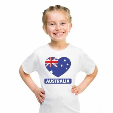 Australische vlag in hartje shirt wit kind