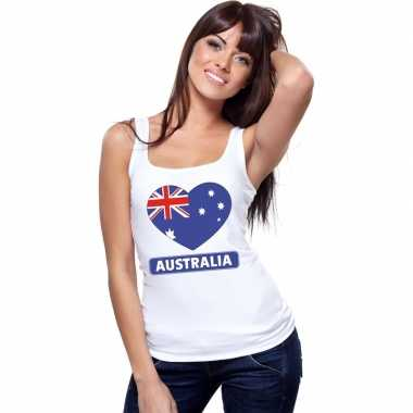 Australische vlag in hartje singlet wit dames