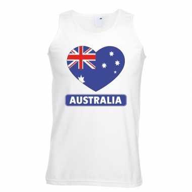 Australische vlag in hartje singlet wit heren