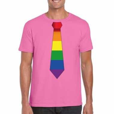 Azalea roze t-shirt met regenboog vlag stropdas heren