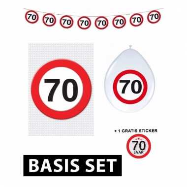 Basic set met 70 jaar stopbord versiering