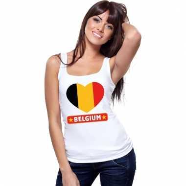 Belgische vlag in hartje singlet wit dames